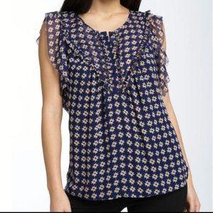 Diane von Furtenberg Blue 100% Silk Blouse Size 2